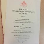 Urkunde des Senator neumann Preises 2013 für das Dentologicum Hamburg
