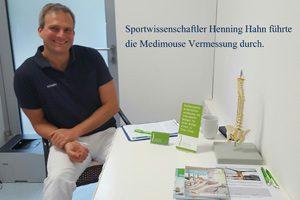 Sportwissenschaftler Henning Hahn führte die Medimouse Vermessung durch